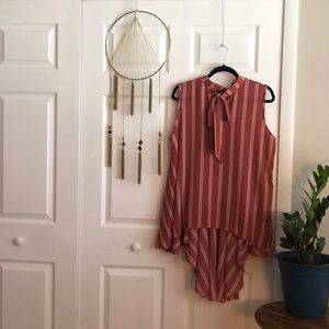 Striped Deep pink and White Sleeveless Blouse